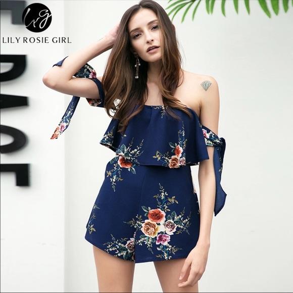 3446e9b74e04d Off Shoulder Romper Navy Blue Floral Print
